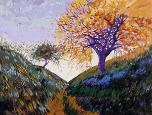 SOLD - Letting go 2018 70cm x 90cm R5500 Oil on box canvas We can learn from the trees how easy it is to let go like they do every autumn season, let go let go let go. I post world wide and prices exclude postage.