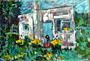 SOLD - The cottage, 52cm x 36cm
