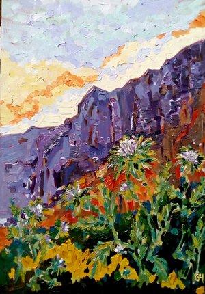 gillian-hahn-oil-painting-artist-hermanus-art-thistles-on-the-rocks